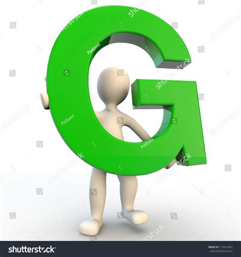 Character Letter G 3d Human Character Holding Green Letter G Stock Photo 119412052