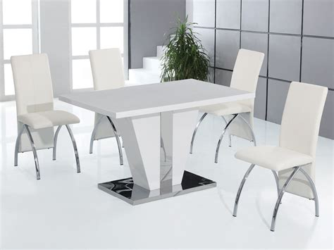 High Gloss Dining Table Set White High Gloss Dining Table And 4 Chairs Set Homegenies