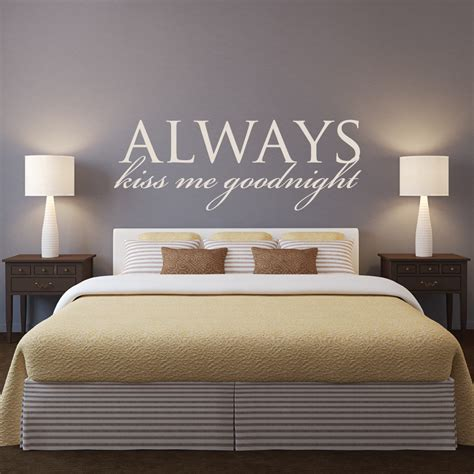 master bedroom headboard wall decal quotes  kiss  goodnight removable wall stickers