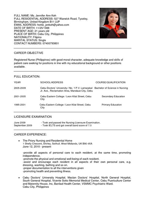 Curriculum Vitae For Nurses by Resumes For Nurses Resume Format Download Pdf