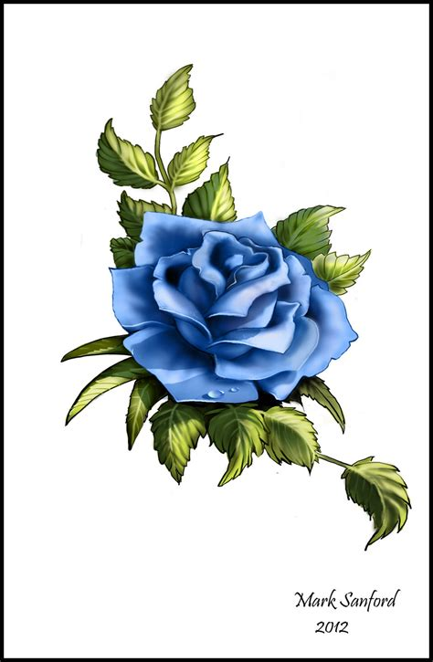 blue and yellow rose tattoo blue design by multiimage on deviantart