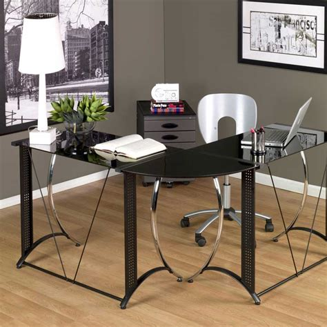 L Shaped Black Glass Desk Small Glass Desk For Small Home Office Space