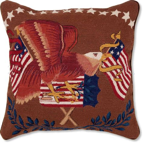 Needlepoint Pillow by Flag Throw Pillows Flag And Eagle Mixed Stitch