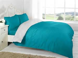 Complete Bedroom Bedding Sets Teal White Plain Colour Reversible Two Tone Complete Bed