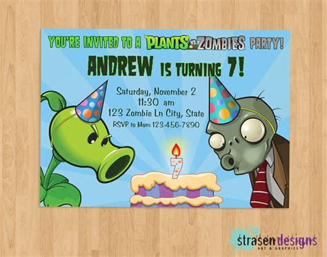 Plants Vs Zombies Invitation Template unavailable listing on etsy