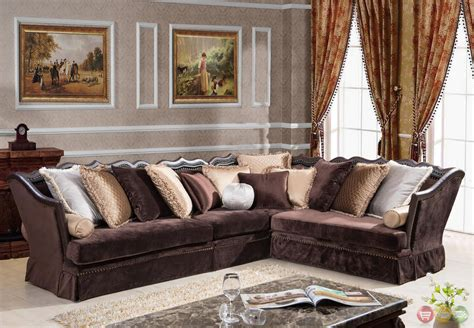 traditional style sectional sofas godiva formal antique style traditional living room