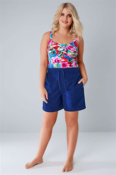 idw079 blue size 16 5 blue board shorts with drawstring waist plus size 16 to 32