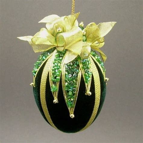Handmade Vintage Ornaments - towers turrets quot avalanche quot green velvet egg with