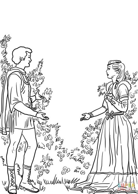 romeo and juliet in the garden coloring page free