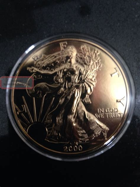 1 troy ounce silver eagle coin 2000 24k gold plated 999 troy ounce silver eagle coin
