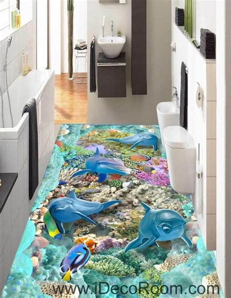 4 Dophins Color Fish Coral Seaweed Blue Ocean 00062 Floor