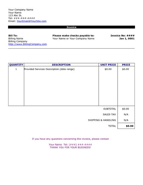 simple invoice template free free excel templates