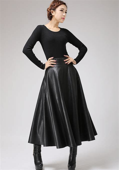 swing style frauen black faux leather skirt classic style maxi skirt pu
