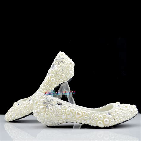 Pearl Wedding Shoes by Handmade Ivory Pearl Wedding Shoes Low Heeled And High