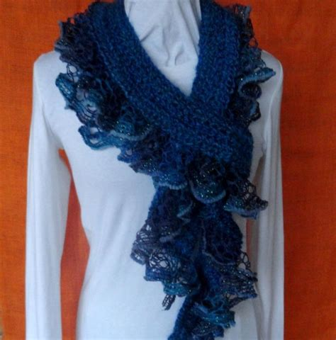 crochet scarf with ruffle yarn edging by kimberleeg craftsy