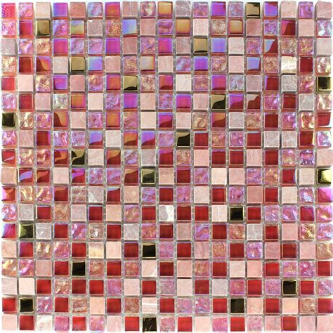 fliese mosaik glas mosaikfliesen naturstein rot rosa gold tm33101m