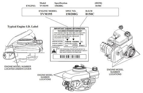 az motor parts tecumseh engine model number and spec number locator