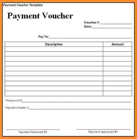 Payment Receipt Voucher Template Excel by Pay Receipt Salary Receipt Voucher Voucher Template Excel