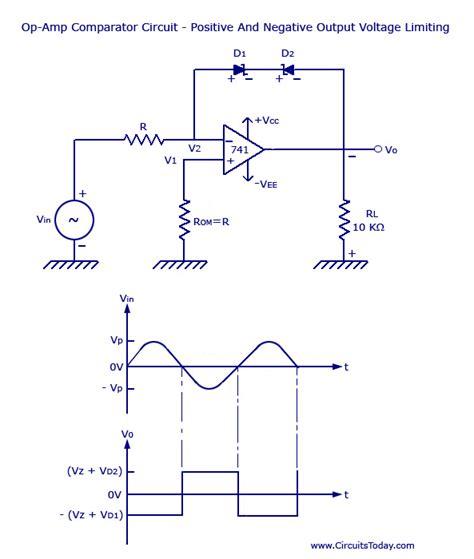 diode comparator circuit voltage limiter circuit using op circuit diagram waveform