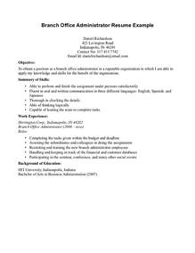 Branch Office Administrator Resume Example Displaying