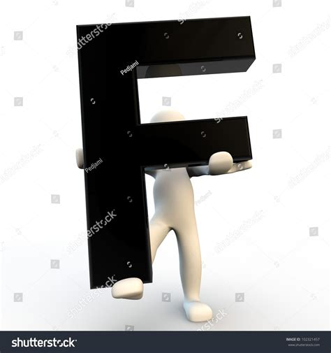 Character Holding Letter 3d human character holding black letter f small