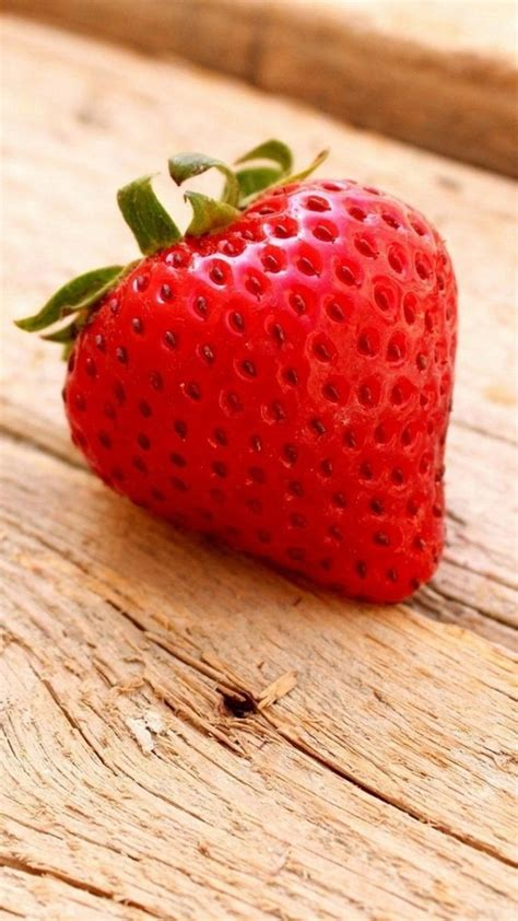 Strawberry Close Up Wood Android Wallpaper free download