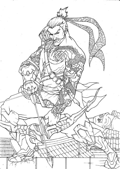 libro overwatch coloring book hanzo overwatch inked by zoday on
