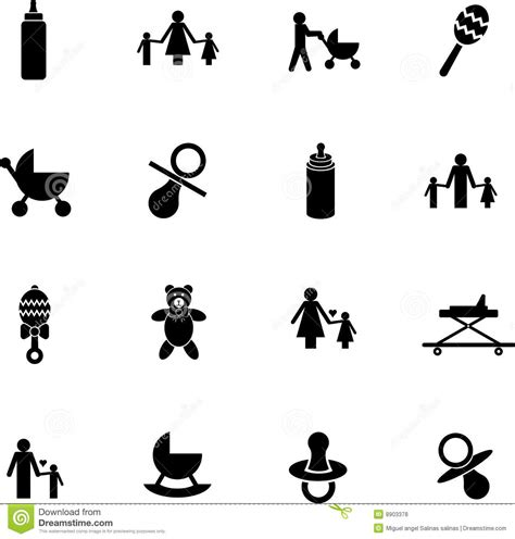 vector baby items symbol set with bottles toys etc royalty