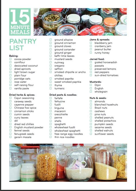 pantry list from oliver s 15 minute meals book http