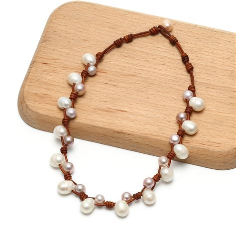 Pearl Necklace Handmade - aobei pearl fashion leather pearl necklace for