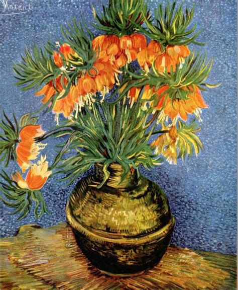 Gogh Vase Of Flowers by Still With Imperial Crowns In A Bronze Vase Vincent