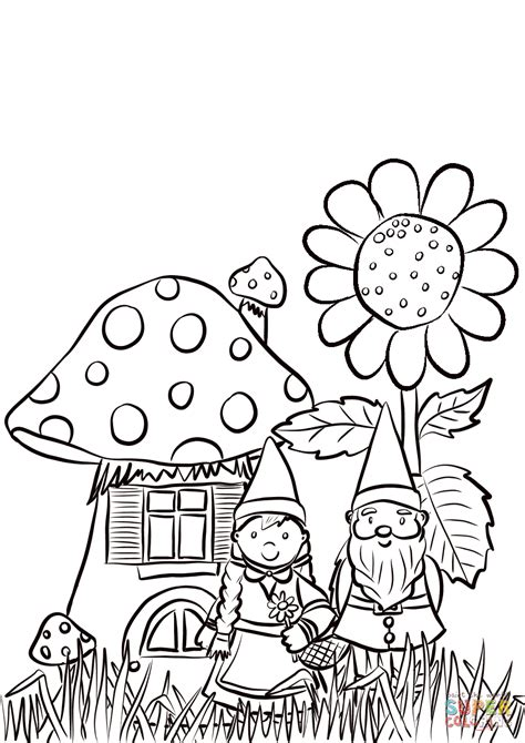 coloring page garden gnome garden gnomes family coloring page free printable