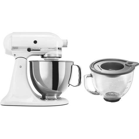 home kitchen aid kitchenaid artisan 5 qt white stand mixer ksm150pswh 3 kit the home depot