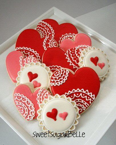 decorated valentines cookies vintage lace collection sugar cookies
