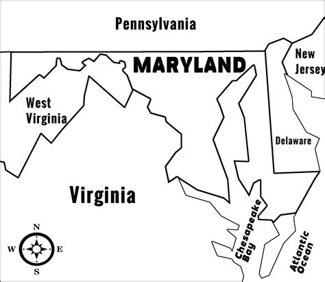printable map of maryland maryland md state information