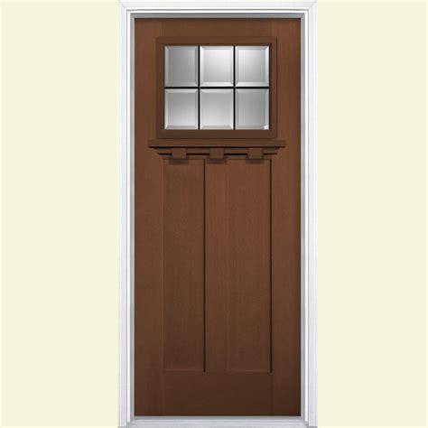 Masonite Fiberglass Exterior Doors Masonite 36 In X 80 In Oaklawn 6 Lite Fir Grain Textured Fiberglass Prehung Front Door
