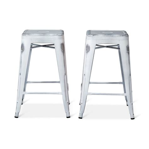 Distressed Wood Counter Stools by Distressed 24 Quot Backless Counter Stool Set 2 Pc Ebay
