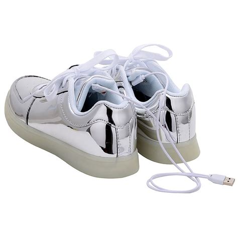 silver light up shoes usb charging led light up shoes sneakers silver