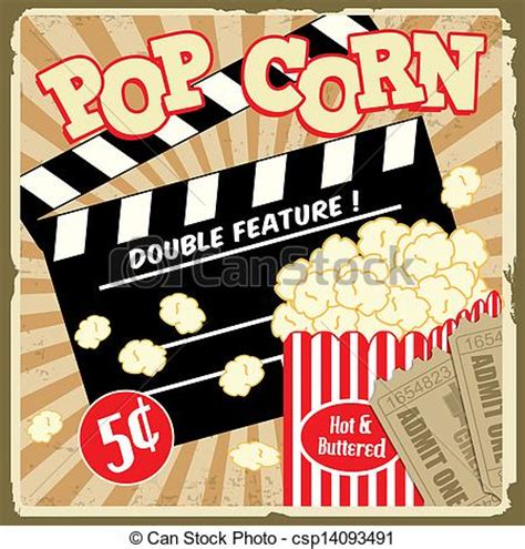 eps vectors of popcorn with clapper board and movie