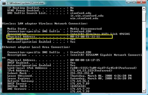 Mac Address Hardware Lookup Connecting To Stanford S Wireless Network With Windows 7