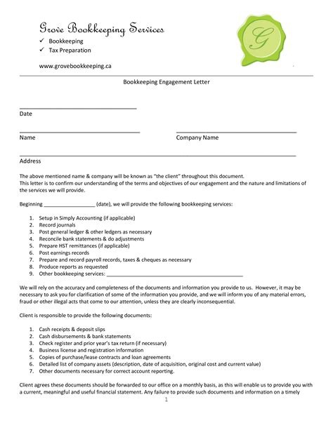 bookkeeping agreement template accounting contract