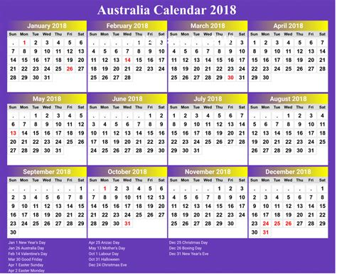 2018 printable calendar with australia holidays free