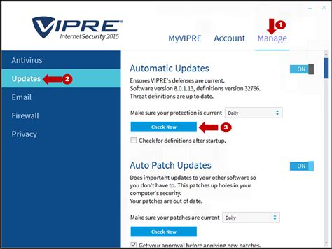 how to check for vipre definitions update vipre