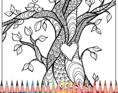 heart tree coloring page adult coloring pages trees tree coloring by