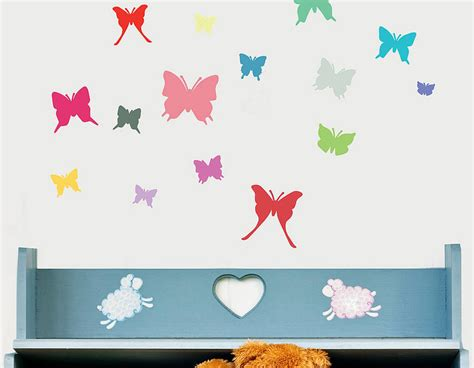 wall butterfly stickers colourful butterfly wall sticker set contemporary wall