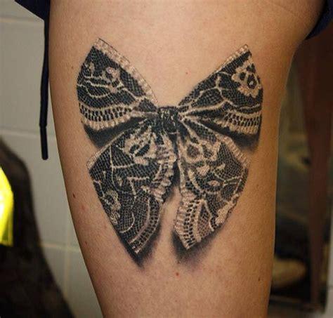 papillon noeud tatouage r 233 aliste dentelle cuisse femme