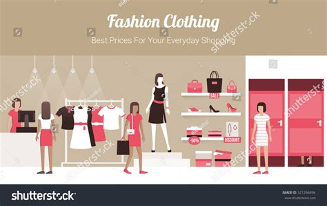 design fashion banner fashion clothing store banner with shop interior clothing