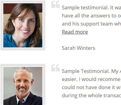 Testimonial Real add ons for real estate websites idxcentral