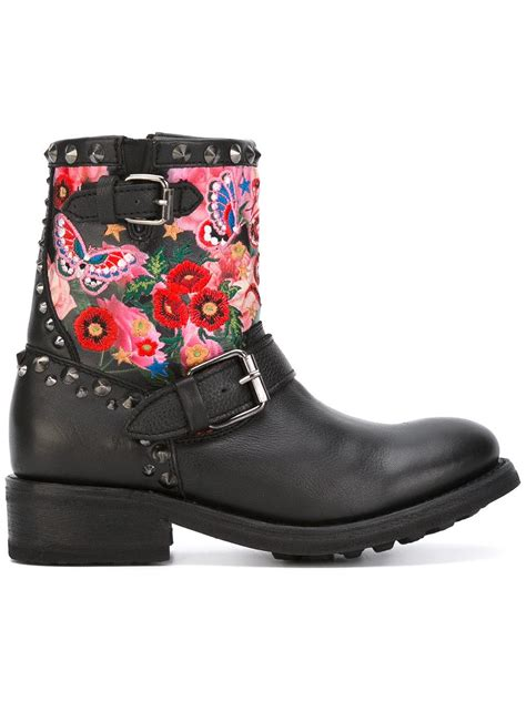 s biker boots lyst ash embroidered biker boots in black