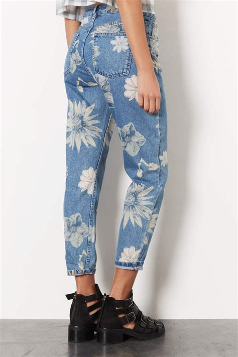 topshop patterned jeans topshop moto floral print mom jeans in gray lyst
